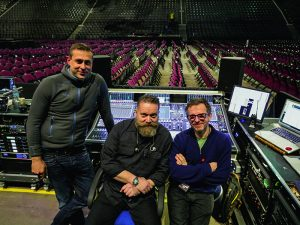 The core audio crew: System Tech Ulf Oeckel, Monitor Engineer Joe Campbell and FOH master, Dave Bracey