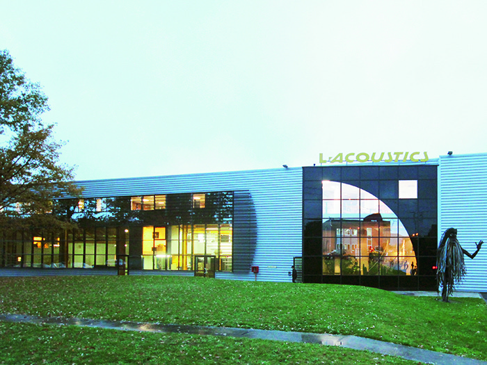 The outside of L-Acoustics' main building in Marcoussis, France.