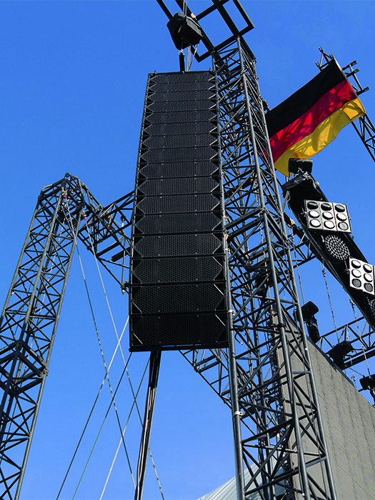 Clair Global's Cohesion CO-12 hung with pride in Munich alongside the German flag.