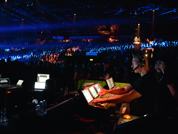 Lighting Designer Michael Bockmūl. sets the mood at the Genting Arena.