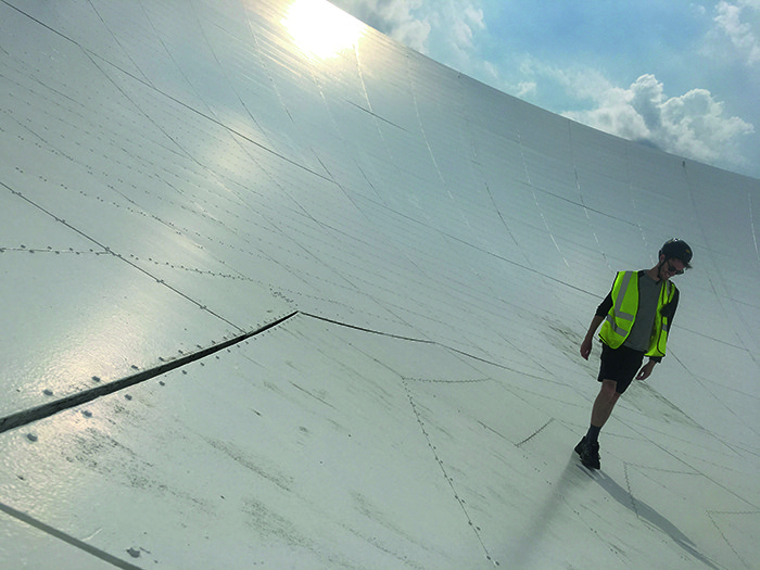 Production Manager, Dominic Morris taking a walk on the Lovell Dish.