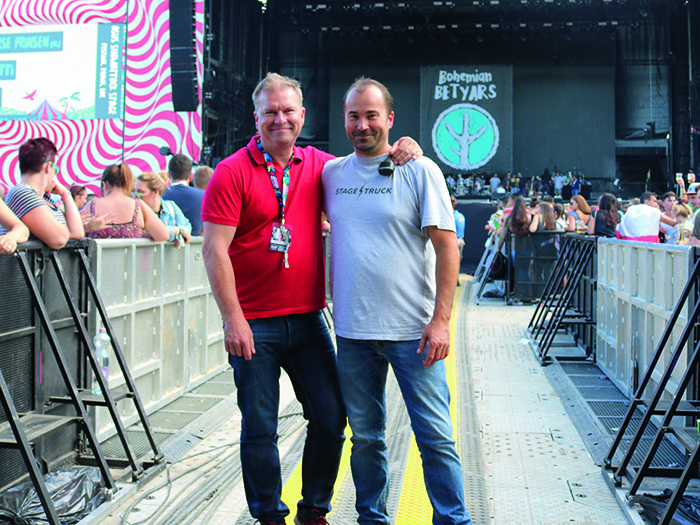 Capital Sound's Paul Timmins with Stage Manager Zsolt Szicso.