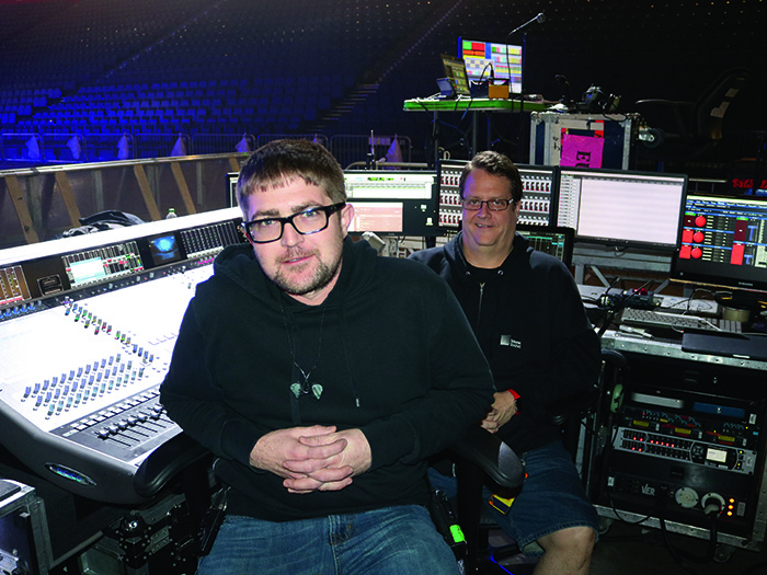 Monitor Engineer Alex Macleod and FOH Engineer Ken 'Pooch' Vandruten
