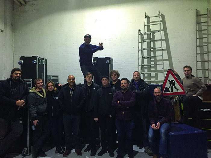 A family photo of the James Blake crew on their last night of the tour in London.