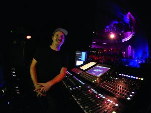 Monitor Engineer Jamie Hickey with his DiGiCo SD10 console