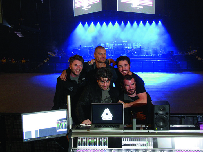 LD Jamie Trant with System Tech, Perttu Korteniemi; Monitor Tech Chris Spiers; Monitor Engineer Ben Kingman and Paul Cooper (FOH)