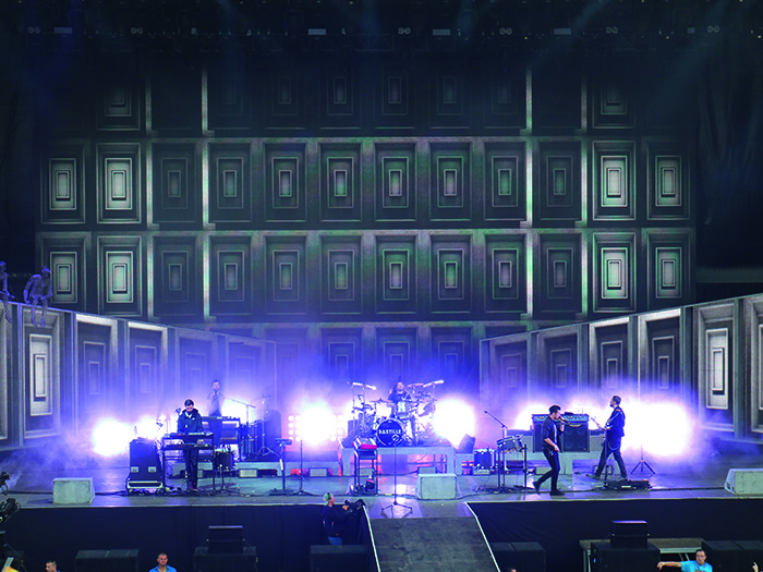 Bastille performed to a crowd of thousands and impressed the Hungarian crew with their visual content.